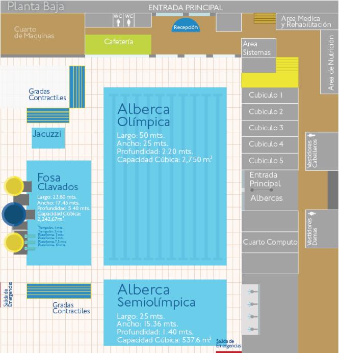 Instalaciones centro acu tico ol mpico universitario - Medidas para una piscina ...