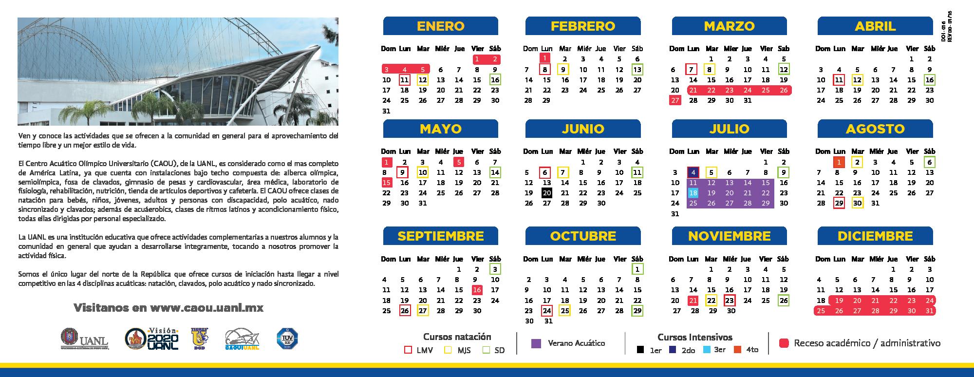 Calendario 216.Calendario Caou 216 Centro Acuatico Olimpico Universitario